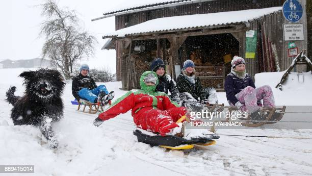 A dog runs past children on sledges pulled through the snow by a tractor on December 10 2017 near UnlingenMoehringen southern Germany / AFP PHOTO /...