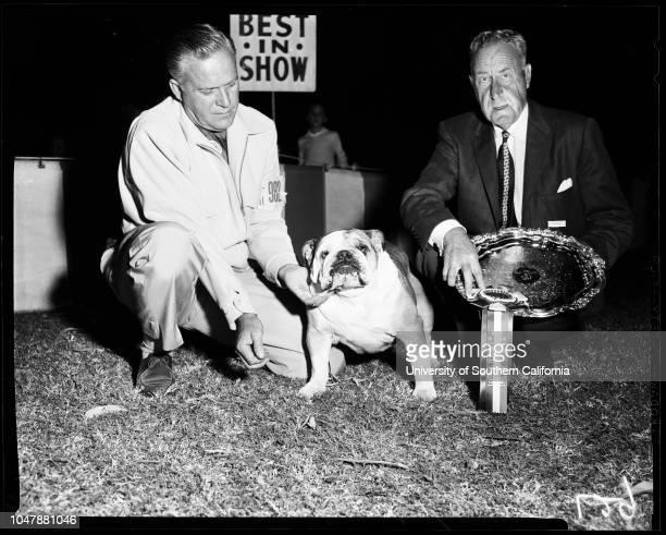 Dog show at Brookside Park, 6 October 1957. Porter Washington;English Bull Dog Champion Banshee of Beechlyn;Doctor Frank Porter Miller.;Caption slip...