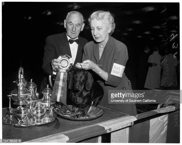 Dog show at Pan Pacific 27 November 1955 Chris Shuttleworth Mrs Fred HeyingCaption slip reads 'Photographer Paegel Date 27 November 1955 Assignment...