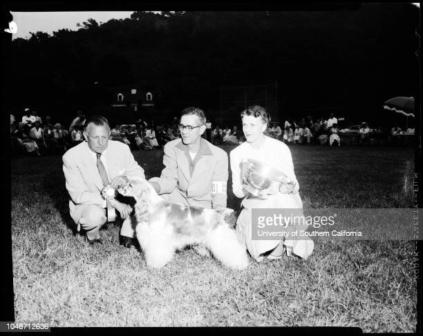 Dog show August 1 1954 'Ophaal of Crown Crest' Kay Finch 'Jigger's Babette of Broadleaf''Pepper of Velvet Pennies' 'Wilco's Mr Barnes' 'Tiny Cindy'...