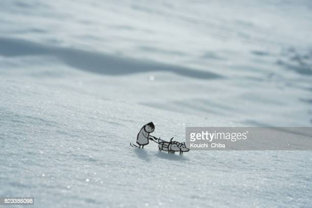 dog sledding - funny snow stock photos and pictures