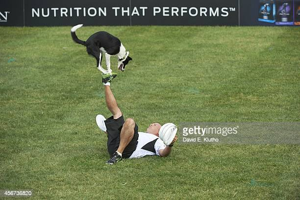 Purina Incredible Dog Challenge View of Riley a Border Collie in action with owner Mark Faragoi during Freestyle Flying Disc competition at Purina...