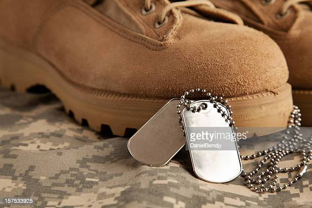 dog tags and army boots - military dog tags stock pictures, royalty-free photos & images