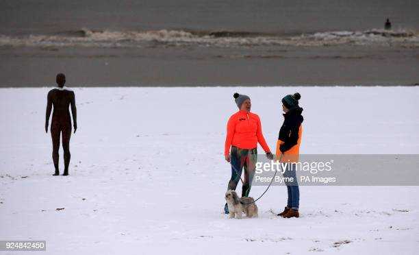 Dog walkers in the snow next to Another Place by Anthony Gormley on Crosby Beech near Liverpool following heavy overnight snowfall which has caused...