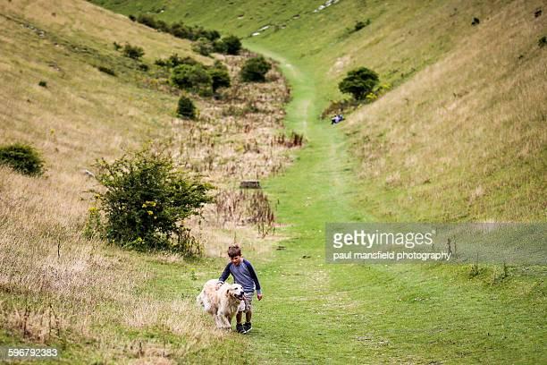 Dog walking alongside boy