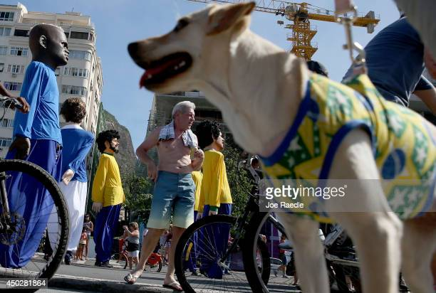 A dog wearing a halter in the color of the Brazilian flag is seen as large puppets in the likeness of soccer players move past during a campaign...