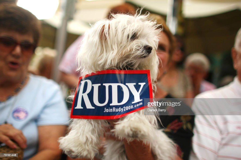 A dog wears a sticker on it supporting Republican presidential hopeful and former New York City Mayor Rudy Giuliani at McCabe's Irish Pub & Grill January 23, 2008 in Naples, Florida. Giuliani continues his campaign strategy of concentrating heavily on Florida ahead of the state's January 29 primary.