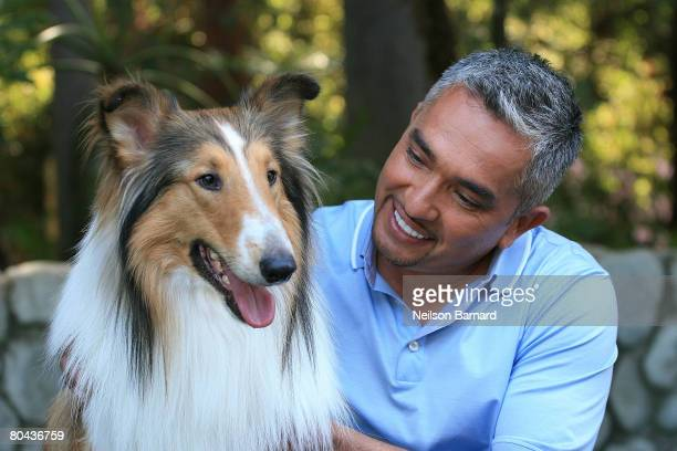 Dog whisperer Cesar Millan and Lassie at the taping of the 100th episode of National Geographic Channel's 'Dog Whisperer' at Pickwick Gardens March...