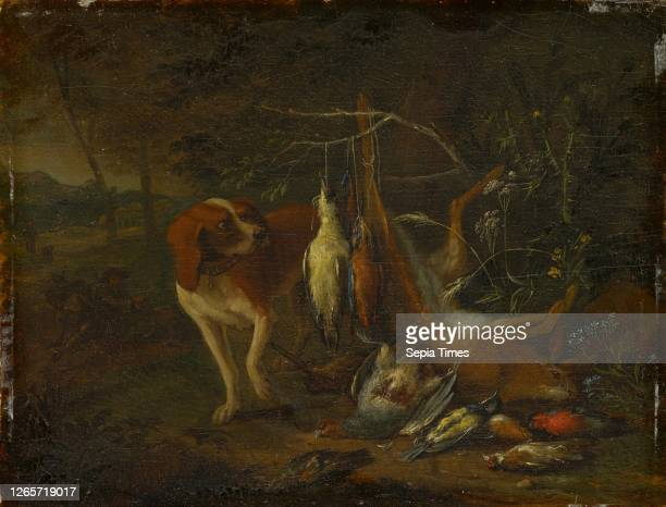 Dog with dead game, oil on oak, 18 x 23 cm, Signed left on the stone next to the large plant: A Gryef f, Adriaen de Grijf, Amsterdam um 1670–1715...