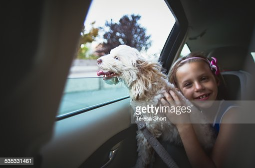 Dog with head out car window on lap of young girl