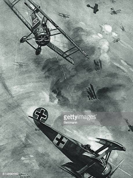 Dogfight: British plane on the tial of German scouting plane, May 1918.