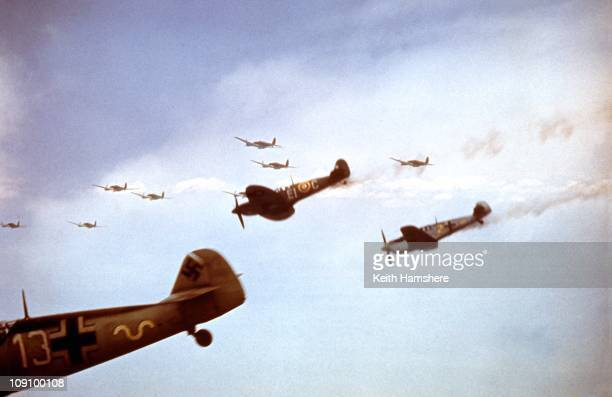 A dogfight over England between a Spitfire and a Messerschmitt ME 109 Buchon during the filming of 'Battle Of Britain' which recreated the World War...