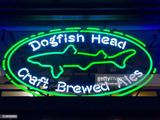 Dogfish Head Craft Brewed Ales Neon Sign At Night In Wilmington Delaware On 3/12/2015