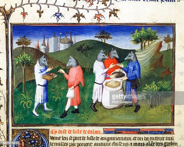 Dogheaded men late 13th century Mythical dogheaded men from the Isle of Agaman Gulf of Bengal Marco Polo Venetian traveller and merchant left Venice...
