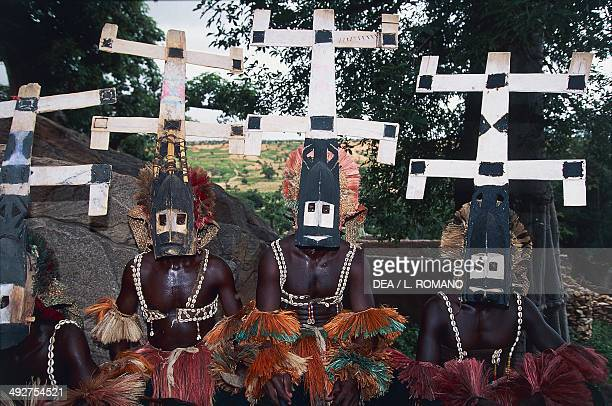 Dogon dancers wearing Kanaga masks Mali