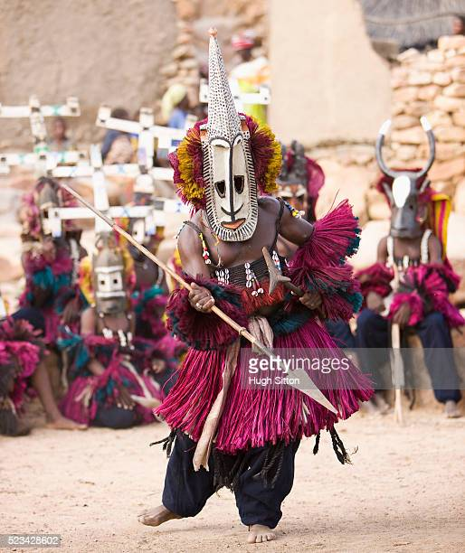 dogon folk dancer - hugh sitton stock pictures, royalty-free photos & images