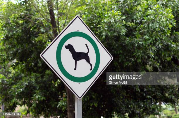 dogs allowed sign in a public park - off leash dog park stock pictures, royalty-free photos & images