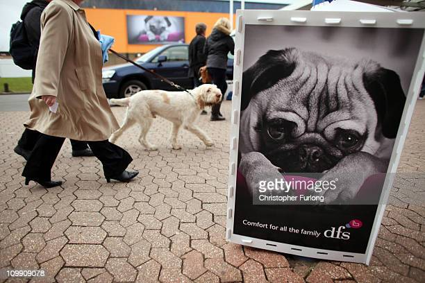Dogs and their owners arrive for the first day of the annual Crufts dog show at the National Exhibition Centre on March 10, 2011 in Birmingham,...