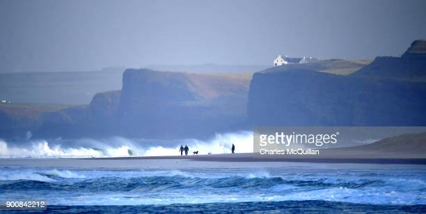 Dogs and their owners enjoy a break in the weather after Storm Eleanor recorded winds of up to 90mph on January 3 2018 in Portrush Northern Ireland...