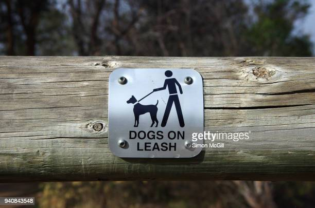 'Dogs on leash' sign on a log fence