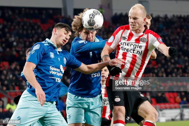 Dogucan Haspolat of Excelsior Wout Faes of Excelsior Jorrit Hendrix of PSV during the Dutch Eredivisie match between PSV v Excelsior at the Philips...