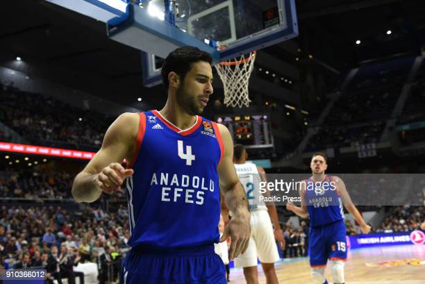 Dogus Balbay #4 of Anadolu Efes pictured during the 2017/2018 Turkish Airlines EuroLeague Regular Season Round 20 game between Real Madrid and...