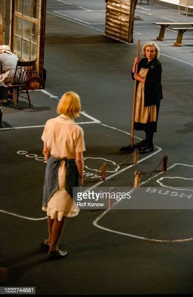 Dogville Set with Nicole KidMan and Lauren Bacall directed by Lars von Trier Sweden 2002