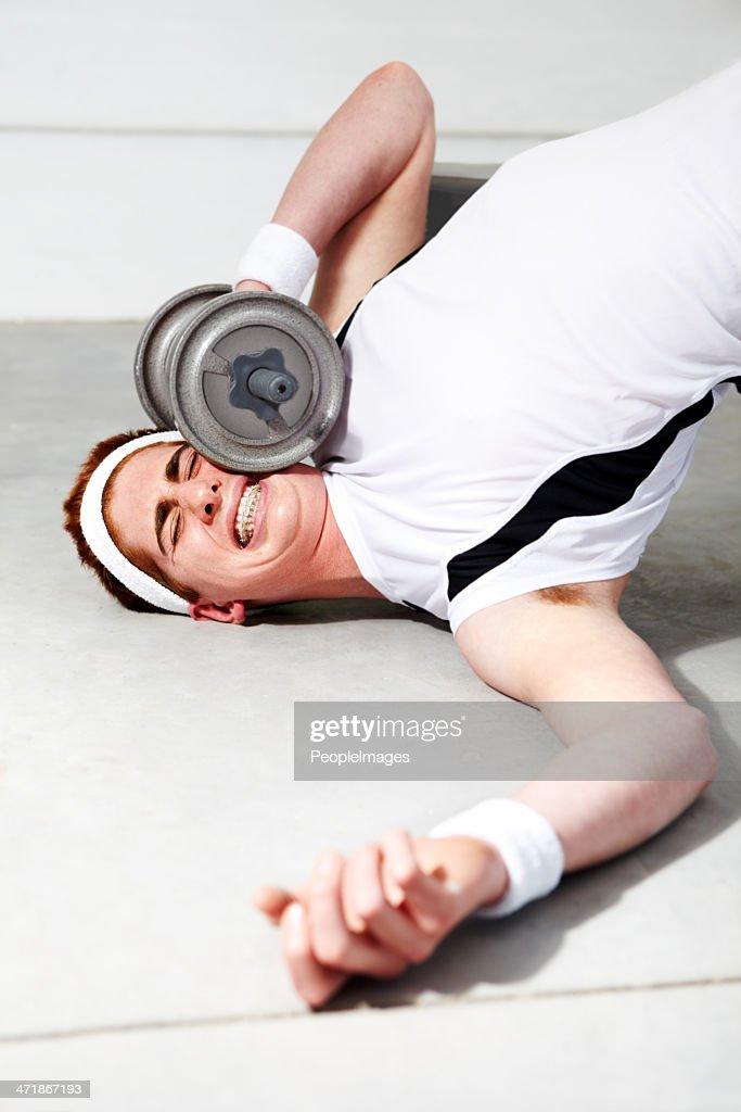 Doh! Should have eased into this workout! : Stock Photo