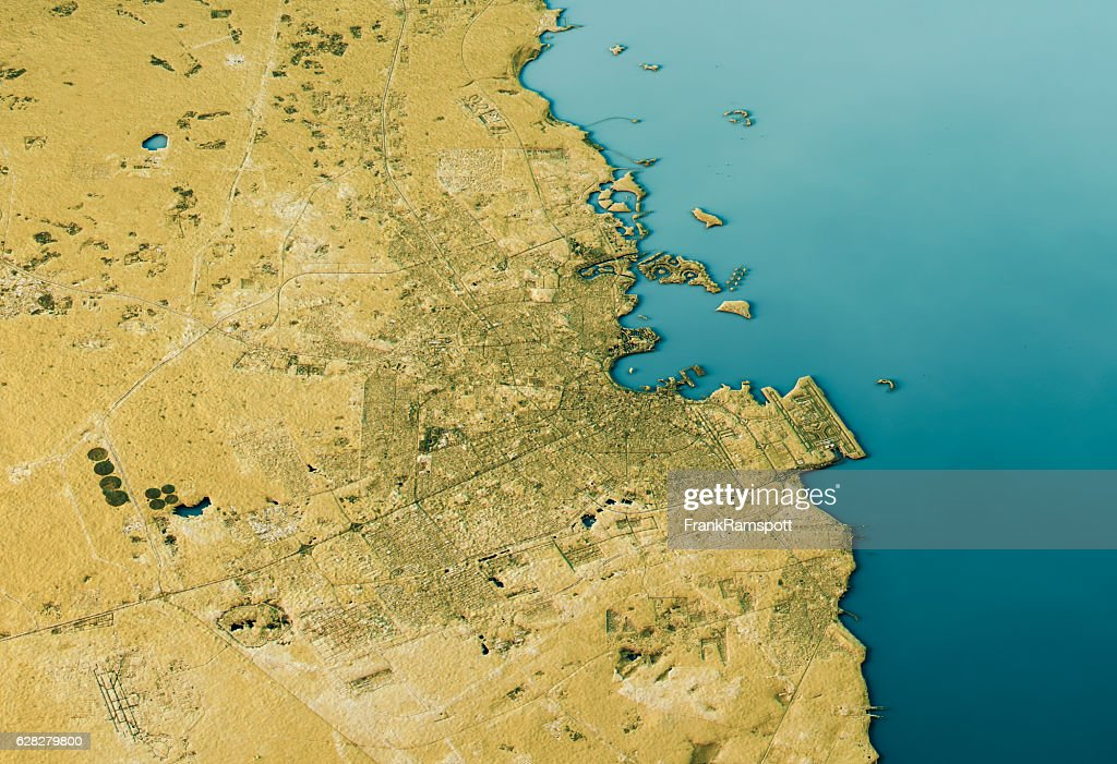Doha 3D Landscape View South-North Natural Color : Stock Photo