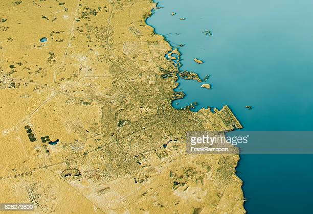 doha 3d landscape view south-north natural color - frankramspott stock pictures, royalty-free photos & images