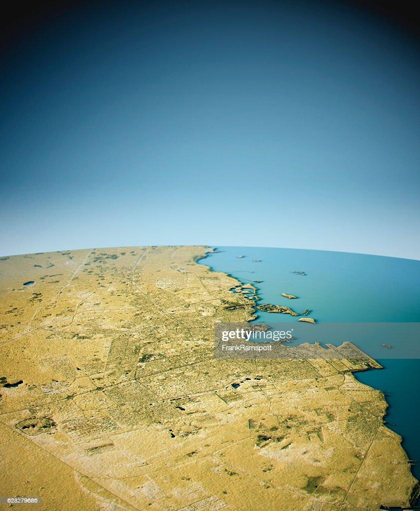 Doha 3D View South-North Natural Color : Stock-Foto