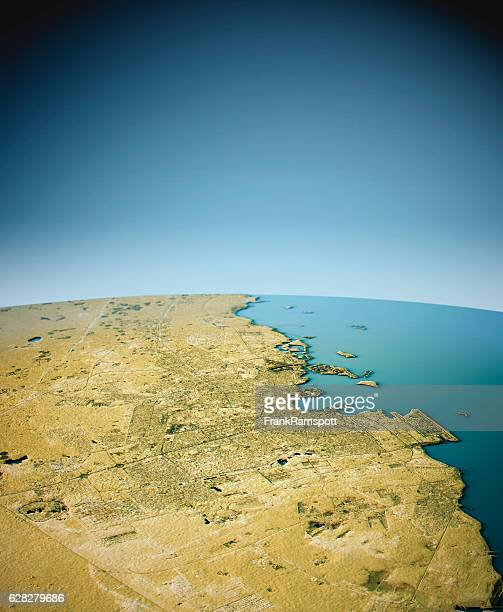 doha 3d view south-north natural color - frank ramspott stock pictures, royalty-free photos & images