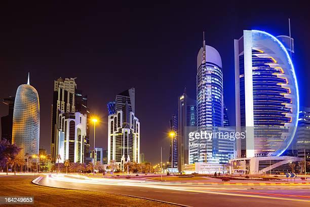 Doha City at Night Qatar Skyscrapers