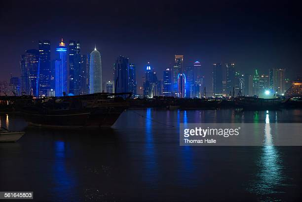 Doha city skyline at night
