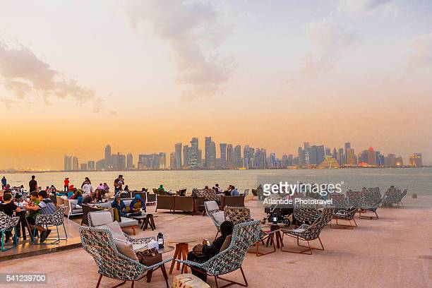 Doha Corniche, Museum of Islamic Art (MIA) Park, MIA Park Cafe or Kiosk (architect Philippe Starck), on the background Al Dafna district (West Bay Business quarter)