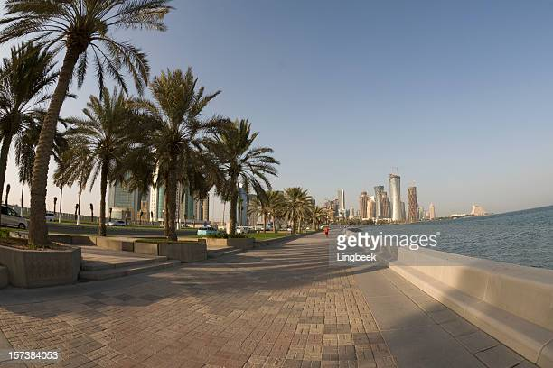 doha corniche (fisheye) - doha stock pictures, royalty-free photos & images