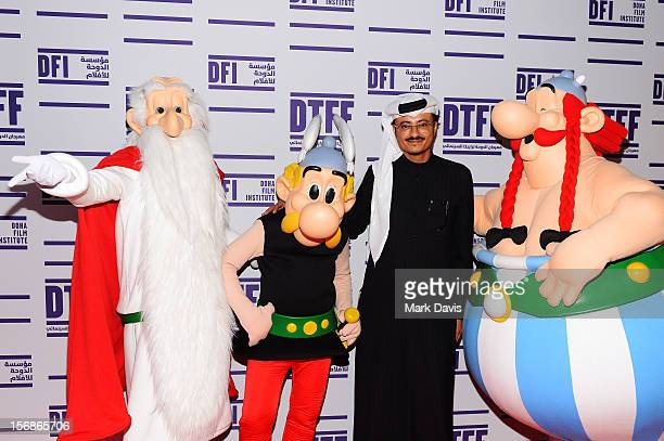 Doha Film Institute CEO Abdulaziz Bin Khalid AlKhater and Asterix Obelix and Getafixat attend the 'Asterix and Obelix 3D' Premiere during the 2012...