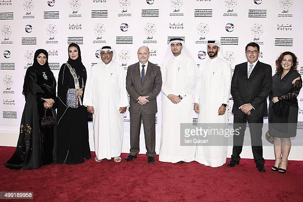 Doha Film Institute CEO Fatma Al Remaihi and President and CEO Occidental Petroleum Steve Kelly with representatives from Ajyal Principal Partner...