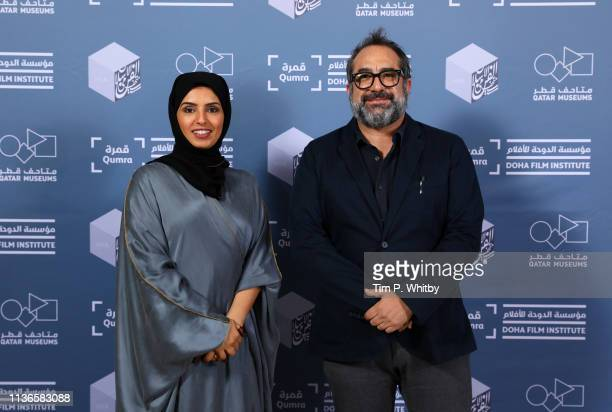 Doha Film Institute CEO Fatma Al Remaihi and Qumra Master Eugenio Caballero attend the Qumra Master photocall on day two of Qumra, the fifth edition...