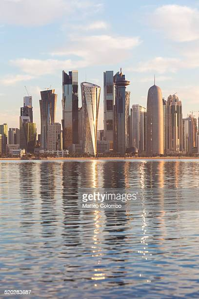 Doha financial center skyline at sunrise, Qatar