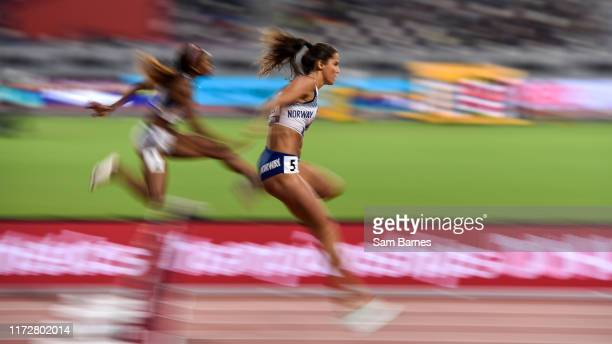 Doha , Qatar - 1 October 2019; Amalie Iuel of Norway competing in the Women's 400m Hurdles heats during day five of the World Athletics Championships...