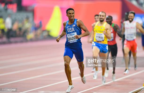 Doha , Qatar - 1 October 2019; Donavan Brazier of USA, left, crosses the line to win the Men's 800m Final during day five of the World Athletics...