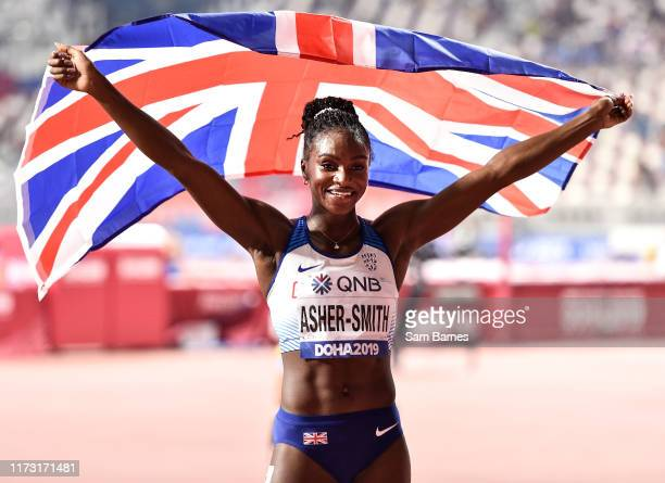 Doha Qatar 2 October 2019 Dina AsherSmith of Great Britain celebrates after winning the Women's 200m Final during day six of the 17th IAAF World...