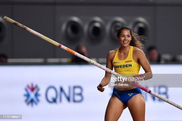 Doha Qatar 29 September 2019 Angelica Bengtsson of Sweden after clearing 480m using a pole vaulting pole borrowed from Ninon GuillonRomarin of France...