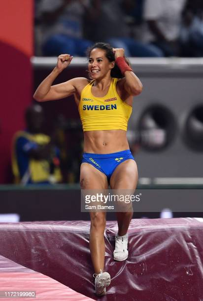 Doha Qatar 29 September 2019 Angelica Bengtsson of Sweden celebrates a clearance of 480m after borrowing a pole vaulting pole from Ninon...