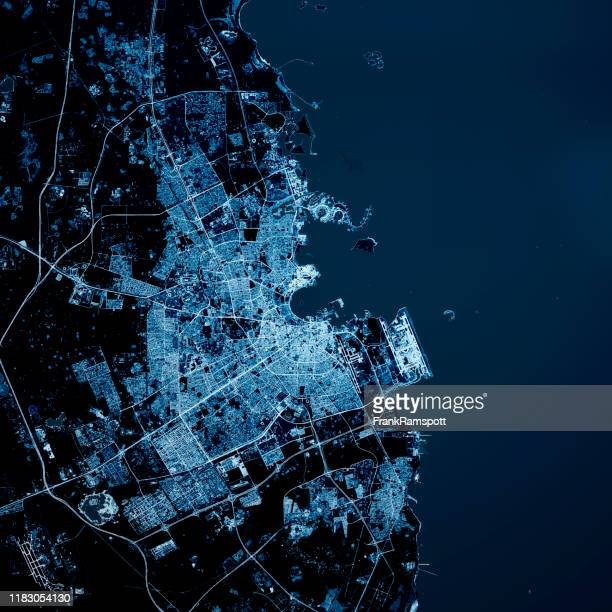 doha qatar 3d render blue top view feb 2019 - frankramspott stock pictures, royalty-free photos & images