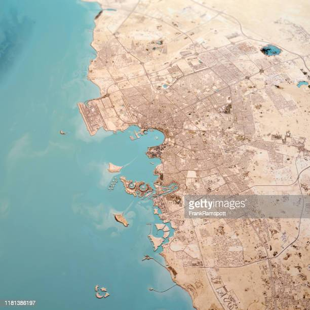 doha qatar 3d render topo landscape view from north feb 2019 - frank ramspott stock pictures, royalty-free photos & images