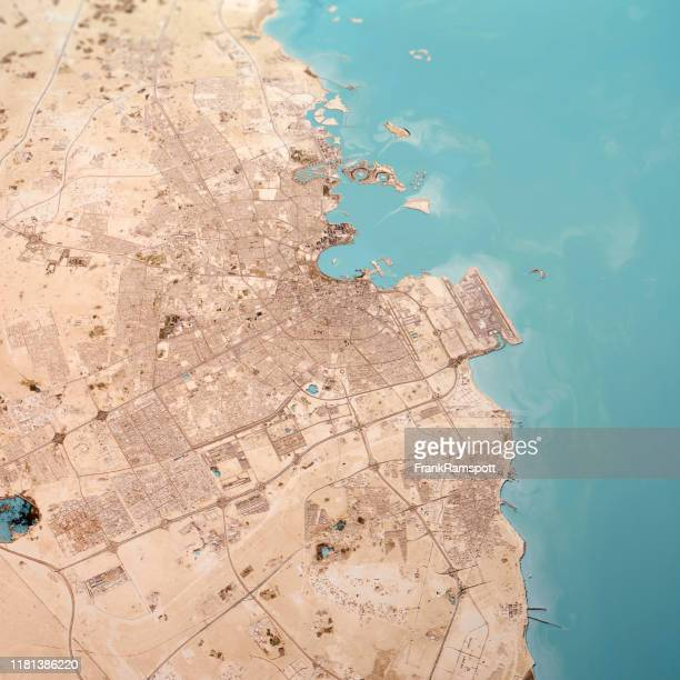 doha qatar 3d render topo landscape view from south feb 2019 - qatar stock pictures, royalty-free photos & images
