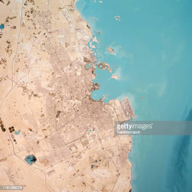 doha qatar 3d render topo top view feb 2019 - frank ramspott stock pictures, royalty-free photos & images