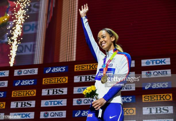Doha Qatar 4 October 2019 Katarina JohnsonThompson of Great Britian with her Gold Medal after competing in the Women's Heptathlon during day eight of...